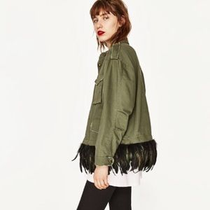 Army Jacket with Detachable Feather Trim